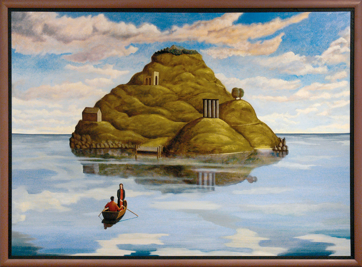 A painting with two people on a row boat heading to a small island